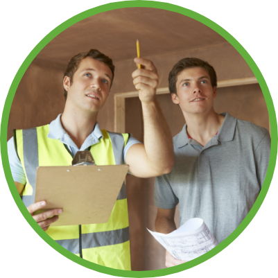 Icon of Home Inspector Walking Through Home with Homeowner