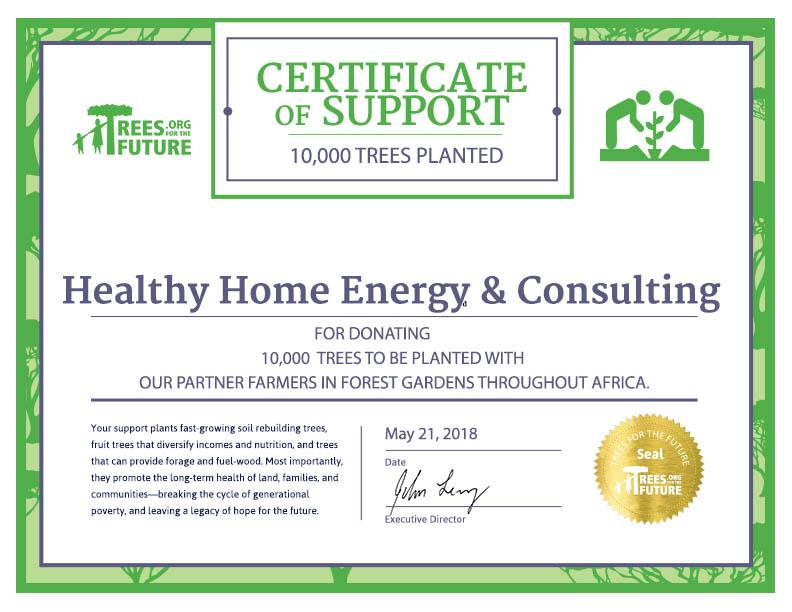 1000 Trees Project Certificate of Support