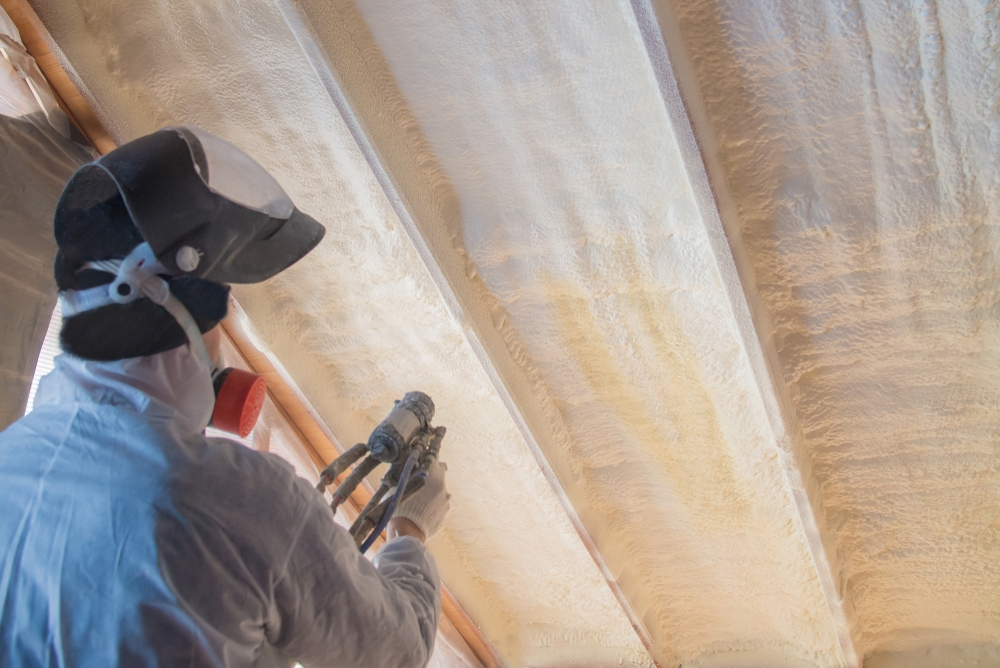 overhead spray foam in ceiling