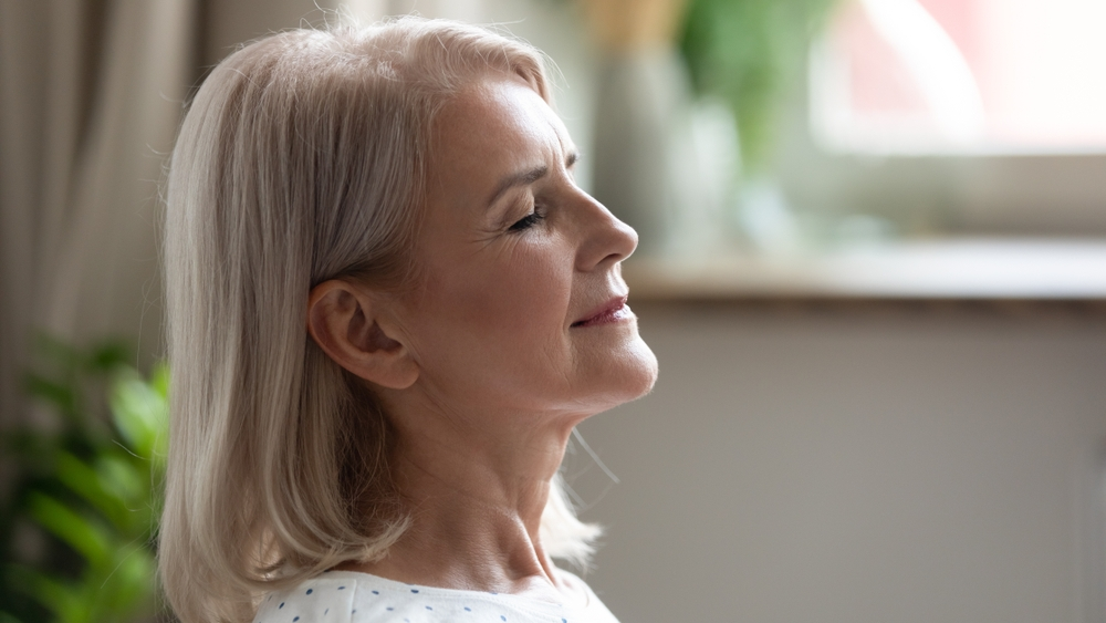 Person breathing in Fresh Air
