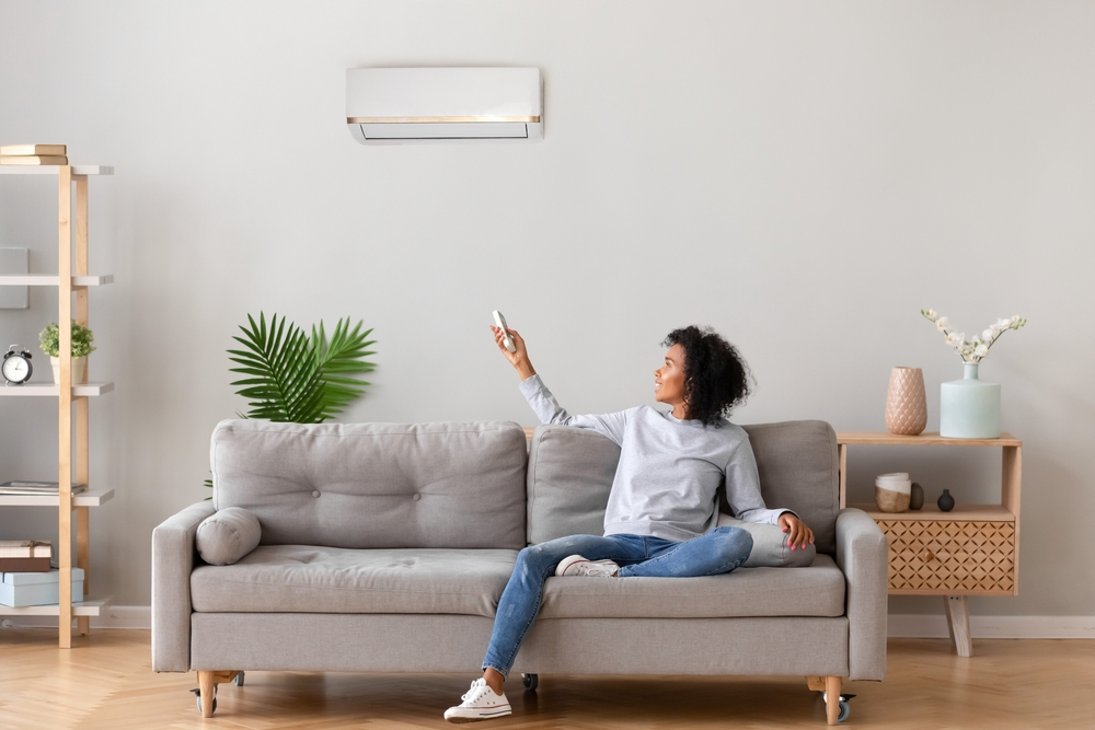 Woman Sitting On Couch And Aiming Remote At Mini-Split on Wall