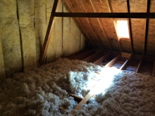 new insulation in attic of house
