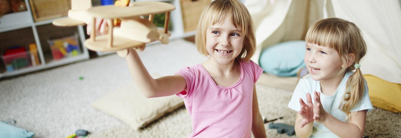 Happy children in energy efficient home